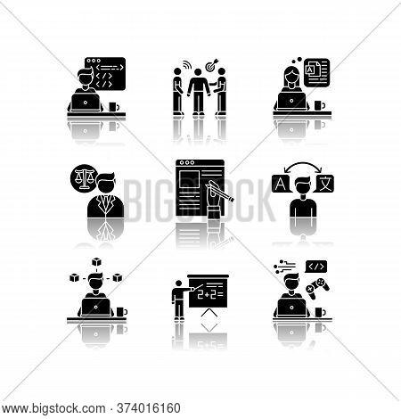 Freelance Jobs Drop Shadow Black Glyph Icons Set. Design, Translation, Teaching, Copywriting. Legal