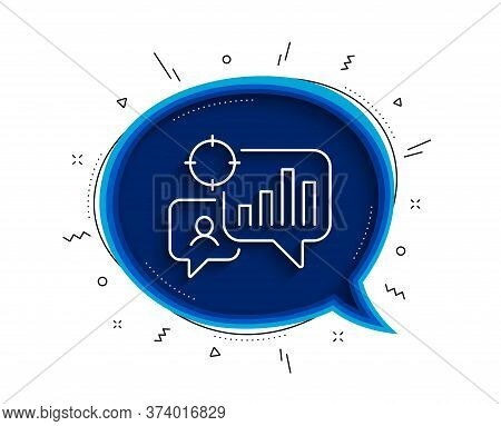 Seo Statistics Line Icon. Chat Bubble With Shadow. Search Engine Optimization Sign. Analytics Chart