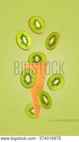 Flat Lay Of Fruit In Ice Cream Cone With Full Depth Of Field