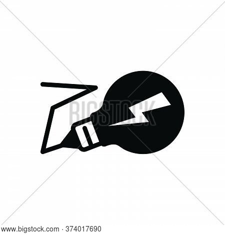 Black Solid Icon For Electricity Lightning Volt Bulb Technology