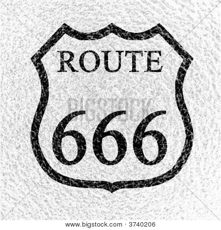 black route 666 sign on a white grainy background poster