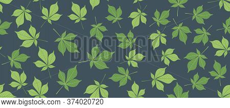 Green Leaves Seamless Background On Dark Blue Background. Vector Illustration.