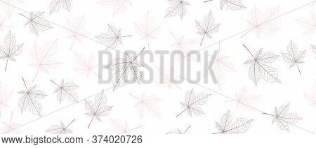 Violet And Pink Leaves Seamless Background On White Background. Vector Illustration.
