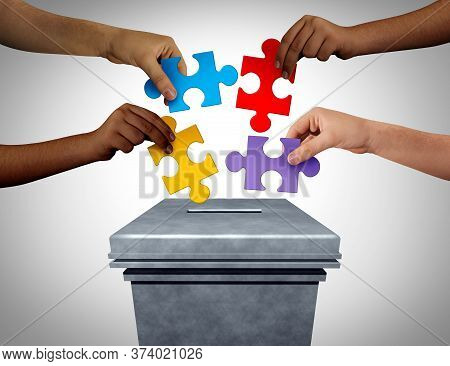 Puzzle Vote As A Political Concept With Voters Holding Jigsaw Pieces At The Ballot Box Voting In An