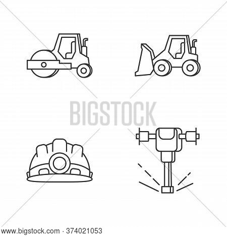 Road Works Pixel Perfect Linear Icons Set. Bulldozer For Construction Work. Roller For Paving. Custo