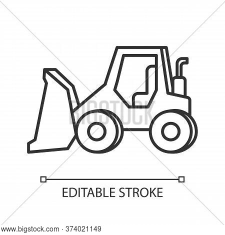 Bulldozer Pixel Perfect Linear Icon. Road Works Industrial Truck. Dozer For Ground Loading. Thin Lin