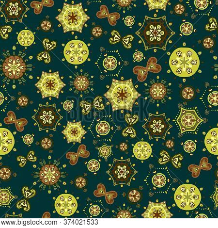 Bright Saturated Abstract Pattern. Seamless Vector With Different Yellow, Green And Brown Elements O