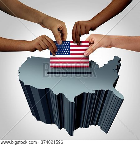 Usa Vote And United States Voters As An American Election Concept With Multicultural Diverse People