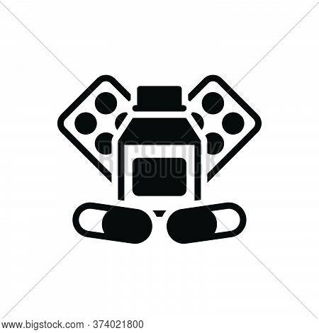 Black Solid Icon For Medicine Drug Pills Tablet Capsule Globule