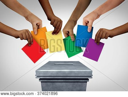 Lgbt Community Vote And Gay Rights Pride Voting Or Sexuality Diversity Concept And Diverse Hands Cas