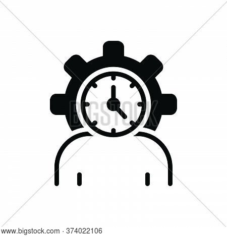 Black Solid Icon For Lifespan Clock Life-cycle People Degenerate Age