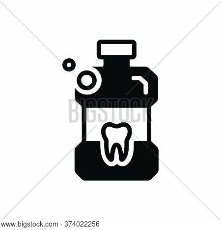 Black Solid Icon For Listerine Mouthwash Bottle Antiseptic Teeth Cleanliness