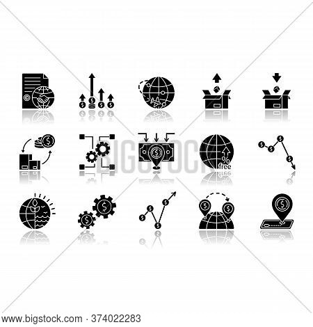 Global Trade Drop Shadow Black Glyph Icons Set. World Economics, Investment And Income. Export And I