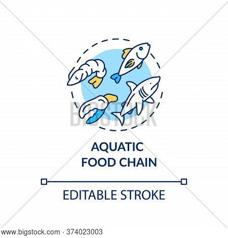 Aquatic Food Chain Concept Icon. Energy Producer And Consumers. Marine Flora And Fauna. Ecosystem Id