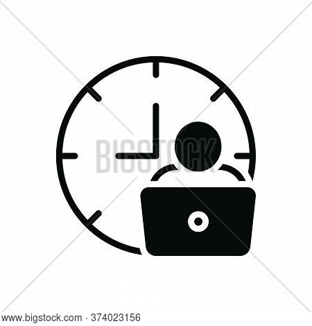 Black Solid Icon For Man-hour Man Work Laptop Hour Hourly