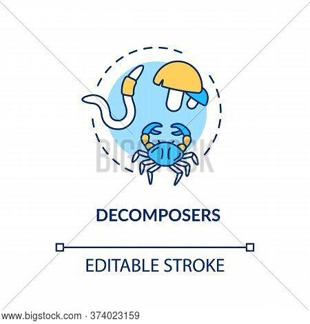 Decomposers Concept Icon. Food Chain Final Link, Reducers. Biological Process In Nature Idea Thin Li