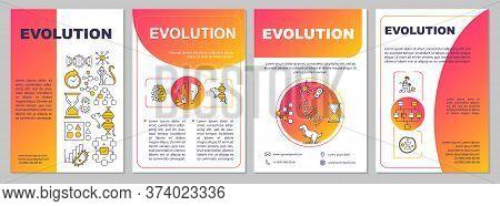 Evolutionary Process Brochure Template. Natural Selection, Adaptation. Flyer, Booklet, Leaflet Print