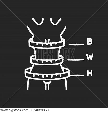 Woman Body Proportions Chalk White Icon On Black Background. Female Measurements, Bespoke Clothing S