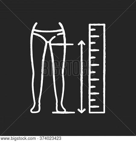 Inside Leg Length Chalk White Icon On Black Background. Human Body Measurements, Tailoring. Clothing