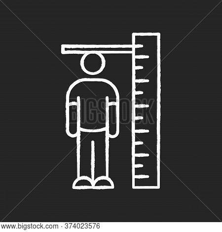 Height Measurement Chalk White Icon On Black Background. Human Body Size Determination. Tailoring Pa