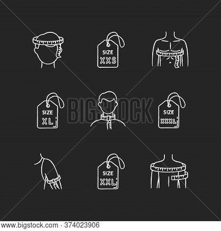 Male Clothing Sizes Chalk White Icons Set On Black Background. Men Body Dimensions And Proportions M