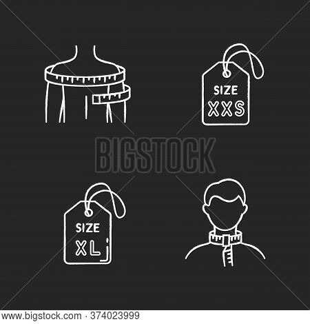 Clothing Size Tags And Body Measuring Chalk White Icons Set On Black Background. Xs And Xxl Size Lab