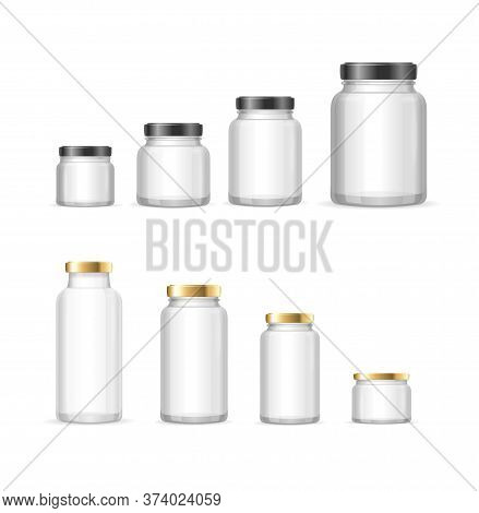 Realistic Detailed 3d Empty Glass Jar With Lid Set Isolated On A White Background. Vector Illustrati