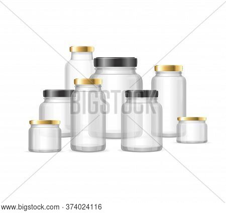 Realistic Detailed 3d Empty Glass Jar Different Sizes Set. Vector Illustration Of Jars