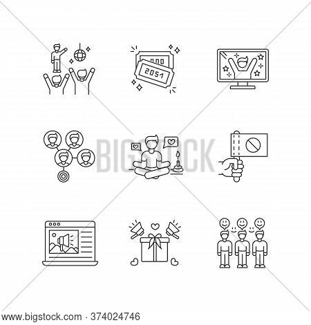 Social Media Promotion Pixel Perfect Linear Icons Set. Fan Meeting. Raffle Tickets. Tv Reality Show.