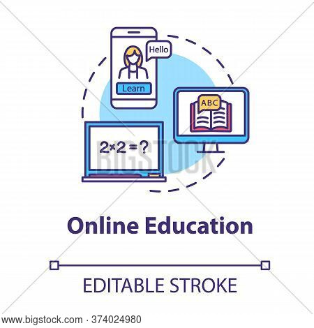Online Education Concept Icon. E Learning With Laptop. Internet Workshops And Masterclasses. Remote
