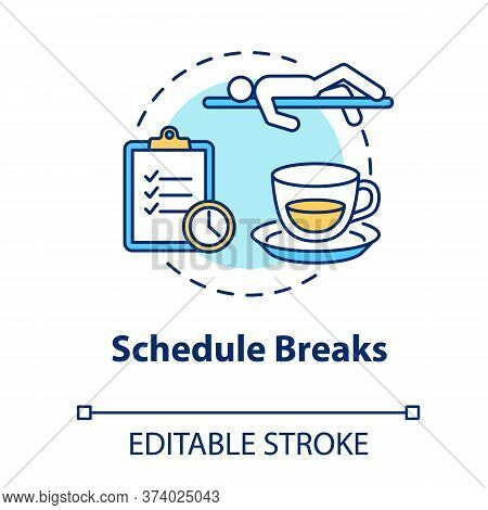Schedule Breaks Concept Icon. Free Time From Work. Pause From Studying. Overworked Employee. Selfcar