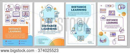 Distance Learning Brochure Template. Quarantine, Online Education. Flyer, Booklet, Leaflet Print, Co