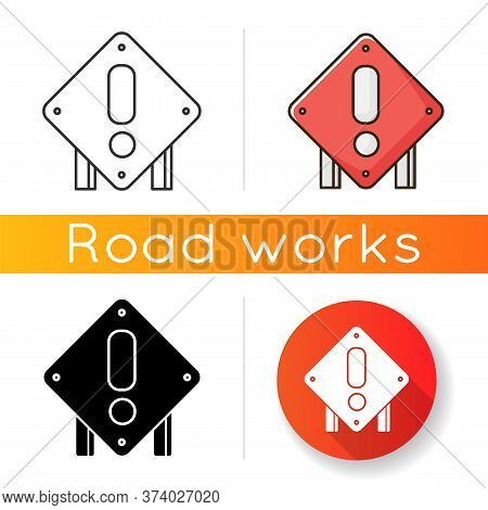 Square Attention Road Sign Icon. Roadworks Construction Warning. Road Control Notice. Exclamation Si