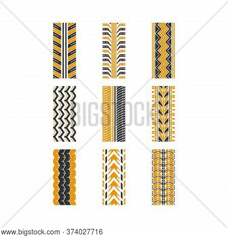 Track Traces Black And Yellow Rgb Color Icons Set. Detailed Automobile, Motorcycle, Bike Tyre Marks.