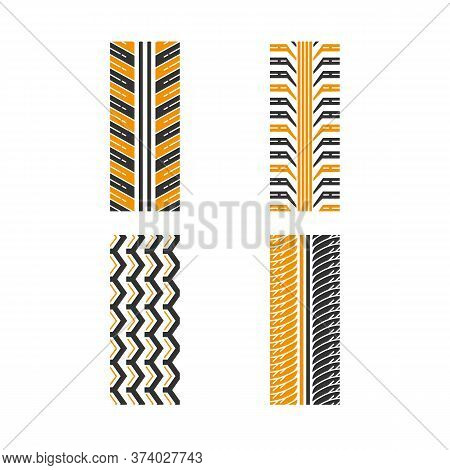 Tire Textures Black And Yellow Rgb Color Icons Set. Detailed Automobile, Motorcycle, Bike Tyre Marks