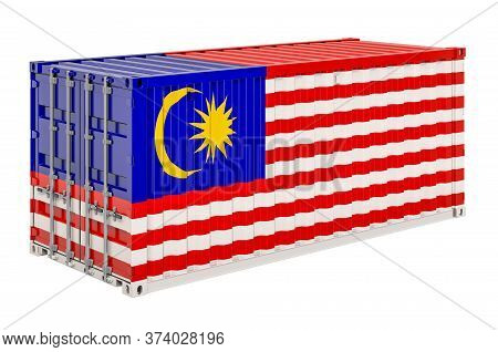 Cargo Container With Malaysian Flag, 3d Rendering Isolated On White Background