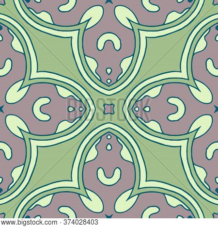Seamless Vector Damask Pattern. Classic Background. Gray And Green Tint.