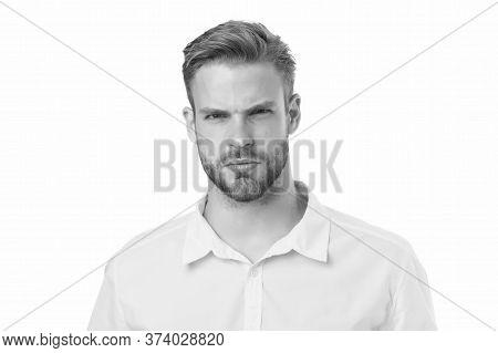 Perfect Appearance. Menswear Shop. Macho Wearing Linen Yellow Shirt. Male Fashion Summer Trends. Uns