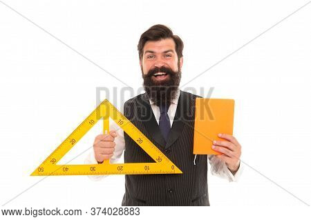 Geometric Drawing. Technical Drawing Teacher Isolated On White. Bearded Man Hold Triangle And Regist