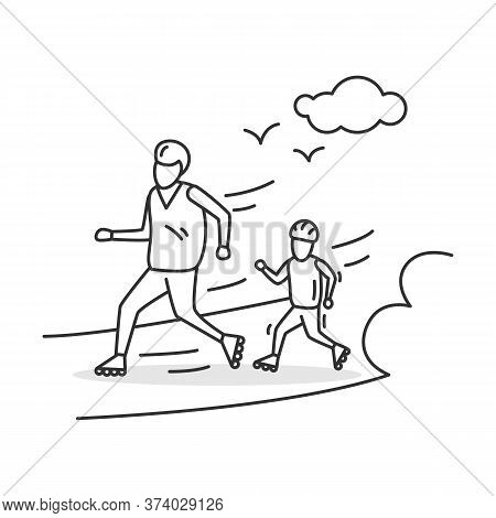 Roller Skating Icon. Parent And Child Using Roller Blades. Concept Linear Pictogram For Family Sport