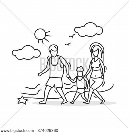 Family Walk Icon.parents And Boy Strolling By Seashore, Holding Hands. Concept Line Pictogram Of Fam