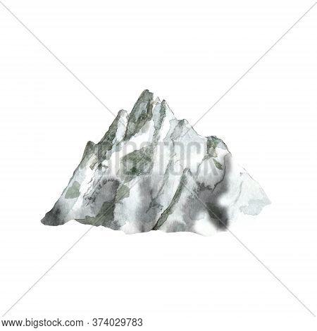 Watercolor Grey Mountain. Hand Drawn Illustration Of Landform With Peak. Landscape Isolated On White