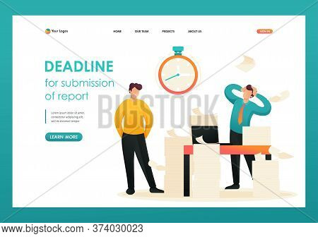 Stressful Situation, Deadline For Submission Of Report, Company Employees In Shock. Flat 2d Characte