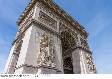 Arc de Triomphe de l'Etoile in Paris, France. Travel Background.