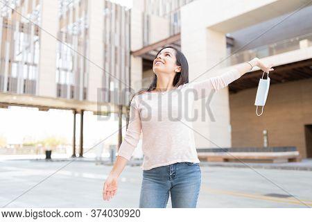 Attractive Caucasian Woman Enjoying Normal Life After Quarantine Period During Coronavirus Crisis