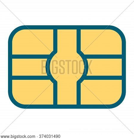 Credit Or Debit Card Icon. Banking Card With Microchip Symbol.
