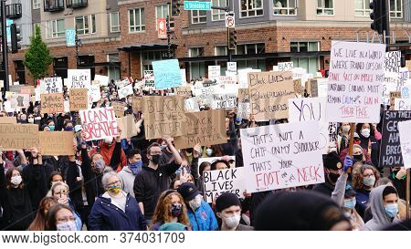 Auburn, Wa/usa - June 2: Street View Protesters Gather Holding Up Signs While Police Keep Watch At C