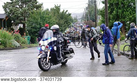 Seattle, Wa/usa - June 12: Street View Silent Protesters March For George Floyd 60,000 Strong In Sea