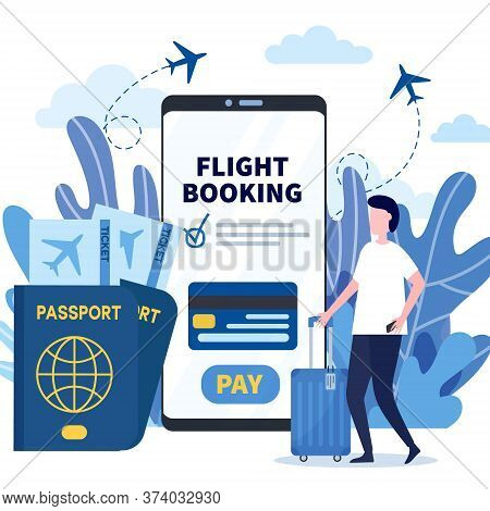 Man Buying Ticket On Flight Via Mobile App. Concept Of Online Flight Booking Service, Check In Servi