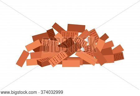 Heap Building Material. Heap Of Red Brick. Vector Illustrations Can Be Used For Construction Sites,
